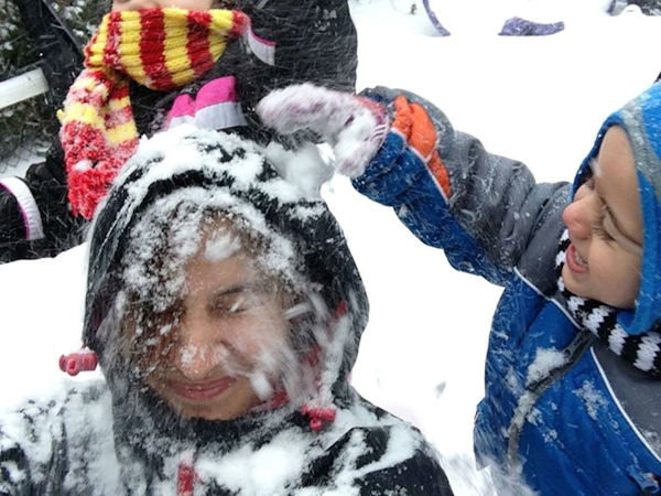 Having a snow fight!