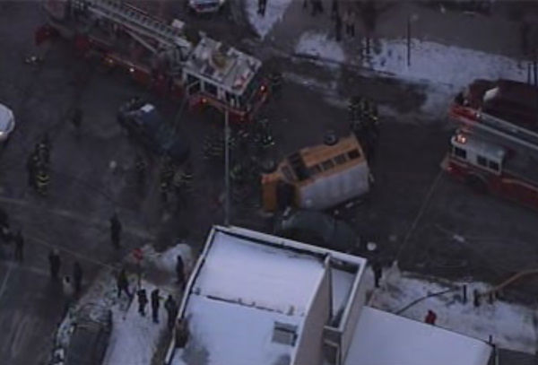 Four adults and three children were injured in a school bus accident in Brownsville, Brooklyn on Monday, Jan. 24, 2011.