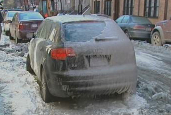 Water main break leaves cars covered in ice on East 2nd Street in the East Village. <span class=meta>(WABC Photo)</span>