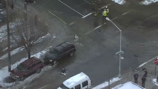NewsCopter 7 over a water main break in Crotona Park East.