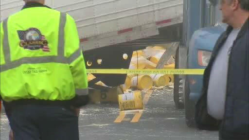 A NJTransit train and a truck carrying paint collided in Little Falls, New Jersey.