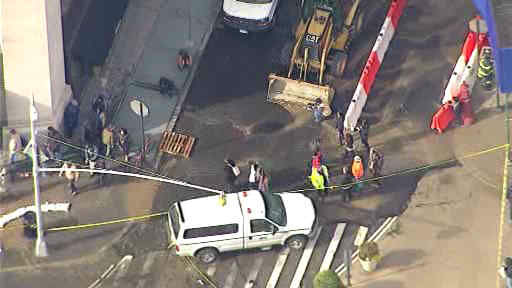 A water main break on 23rd street has caused flooding and subway delays on the N, R, Q lines.