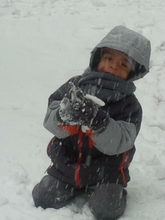 Cedrick prefers enjoying a wet snow day than spending the day at his daycare in Brooklyn.