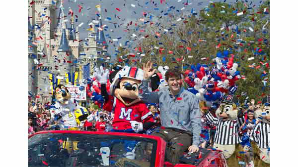 Super Bowl MVP didn't join his teammates on the ride home today because as Super Bowl MVP he was invited to take part in the afternoon parade in Orlando, Florida.