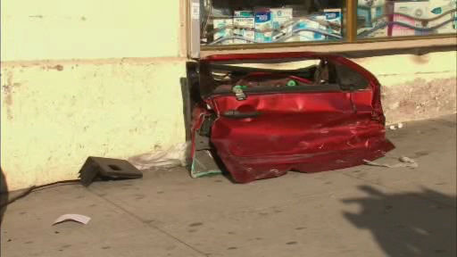 Several people suffered injuries when two vehicles collided and ended up on the sidewalk at Broadway and 135th Street in Harlem.