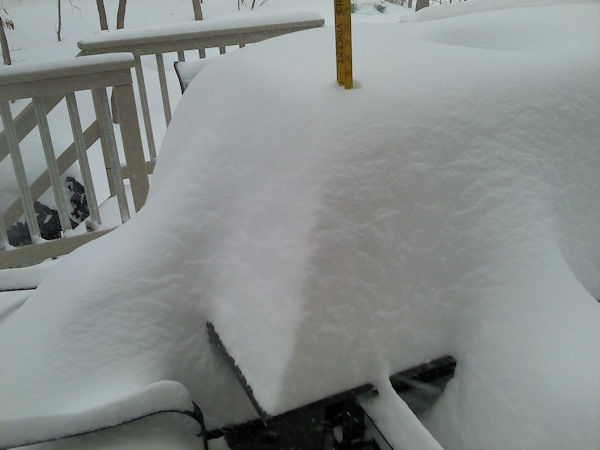 18 inches of snow in Highland Lakes, New Jersey during the nor'easter on February 13, 2014.