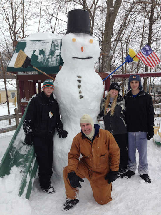 11 foot tall snowman made during the nor'easter on February 13, 2014.