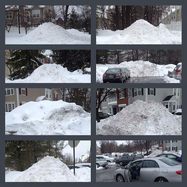 Piles of snow in Princeton during the nor'easter on February 13, 2014.