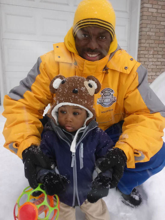 Samiir and his dad in Millburn, NJ from nor'easter on February 13.