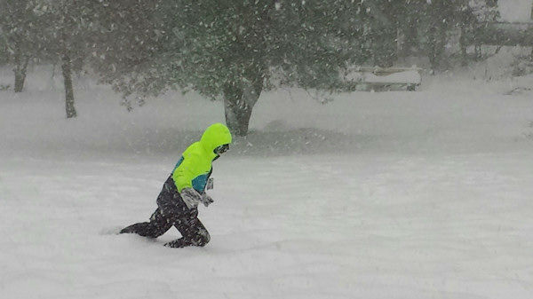 Trudging through the snow in Wayne, NJ during the nor'easter on February 13, 2014.