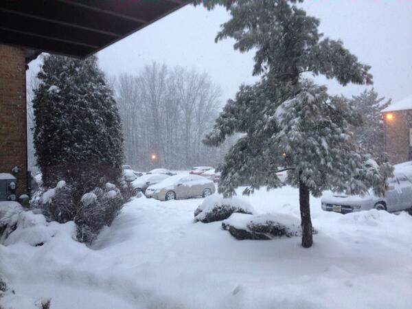 Woodbridge, NJ from the nor'easter on February 13, 2014.