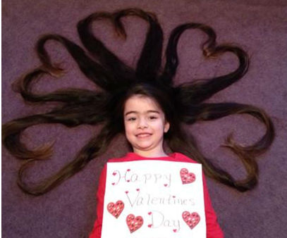 """This is my 6 year old daughter Tanyamarie who has very long hair. Her older sister Hailey came up with this idea...hope you enjoy! Thanks,  Tanya Curto Holbrook NY."""
