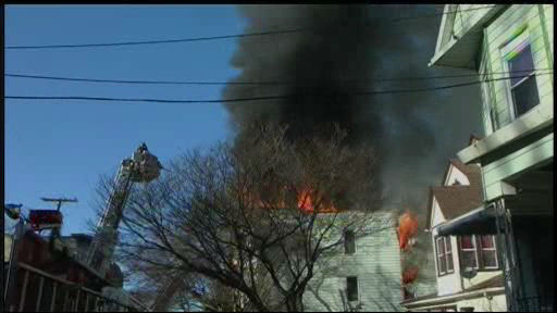 A multi-alarm fire raced through an apartment building in Yonkers on Monday, Feb. 18, 2013.
