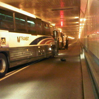 Three buses and a motorcycle collided inside the Lincoln Tunnel on Thursday, Feb. 24, 2011.  Dozens of people suffered injuries. (Courtesy: Alyna Silva)