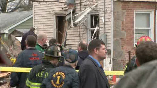 A house located on Perry street in Hempstead apparently exploded and collapsed on Wednesday.