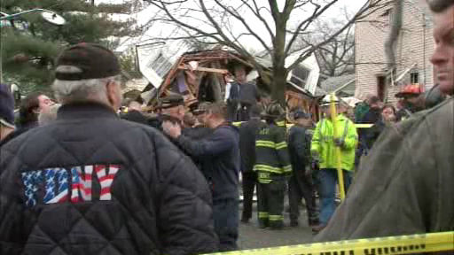 "<div class=""meta ""><span class=""caption-text "">A house located on Perry street in Hempstead apparently exploded and collapsed on Wednesday. </span></div>"