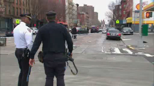 Scene in East Harlem where a child walking to school was struck and killed by a truck.