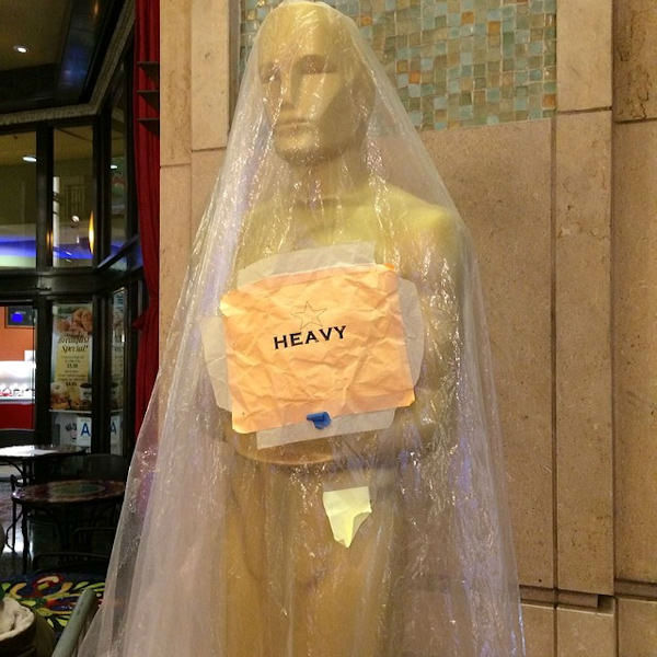 The big gold guy is still under wraps...and worried about rain! <span class=meta>(Sandy Kenyon)</span>