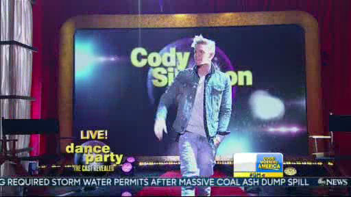 Cody Simpson is a member of the new  Dancing With The Stars cast revealed on GMA.  Season 18 begins on Monday, March 17, 2014.