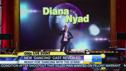 "<div class=""meta ""><span class=""caption-text "">Diana Nyad is a member of the new  Dancing With The Stars cast revealed on GMA.  Season 18 begins on Monday, March 17, 2014.</span></div>"