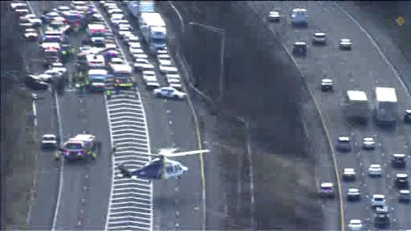 Two cars were involved in a head on collision on I-78 in Springfield, New Jersey, causing afternoon delays.
