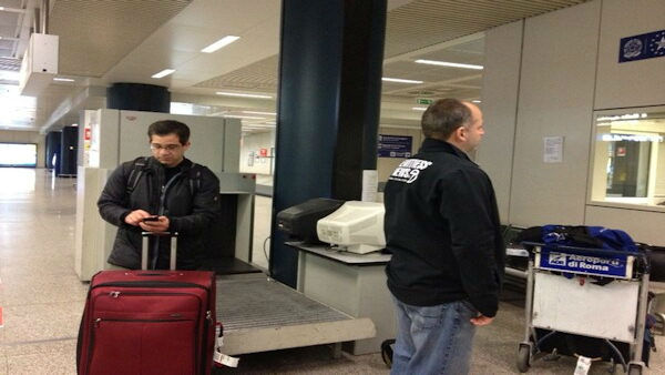 """Joe Torres and Photojournalist Angelo Martin wait clearance of our photo gear. #Rome #Conclave"" -@KimDillon"