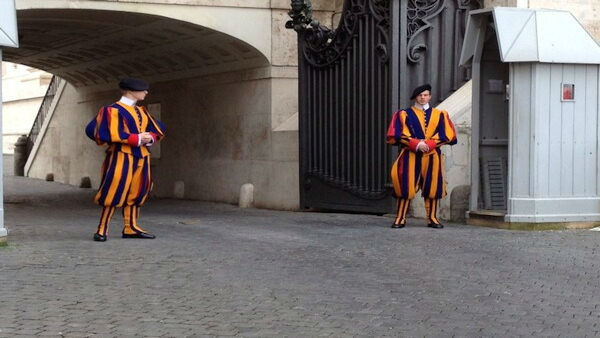 """Who do they protect when there is no #Pope? The always colorful Swiss Guard."" -JoeTorresABC7"