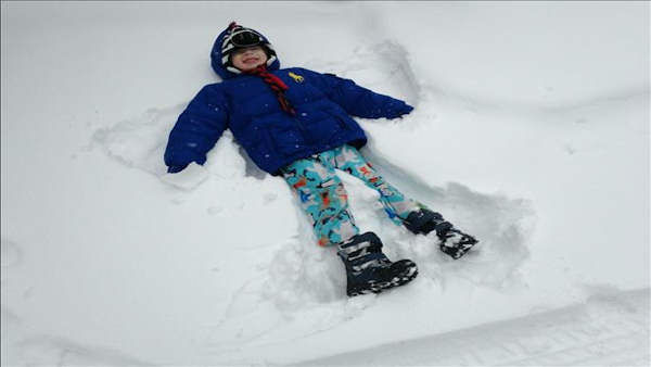 Making snow angels!