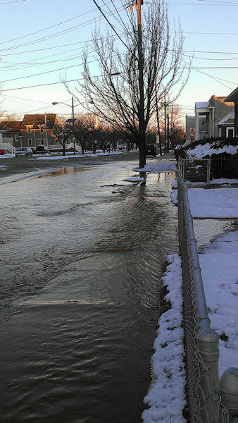 Photos of a water main break at Carteret Avenue and High Street in Carteret, New Jersey on Saturday, March 9, 2013.   (Credit: Robert Woods)