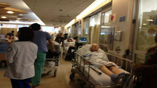 Maimonides Medical Center is treating more patients than before because a nearby hospital still isn't up to speed after the damage from Hurricane Sandy.