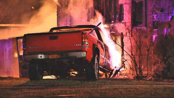 "<div class=""meta ""><span class=""caption-text "">A pickup truck slammed into a Selden, Long Island home causing a huge fire.</span></div>"