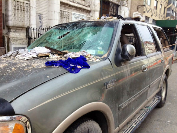 "<div class=""meta image-caption""><div class=""origin-logo origin-image ""><span></span></div><span class=""caption-text"">Photo of a vehicle recovered from the rubble of the explosion in East Harlem (Photo/Kemberly Richardson)</span></div>"
