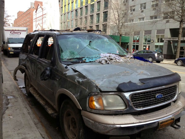 "<div class=""meta ""><span class=""caption-text "">Photo of a vehicle recovered from the rubble of the explosion in East Harlem (Photo/Kemberly Richardson)</span></div>"