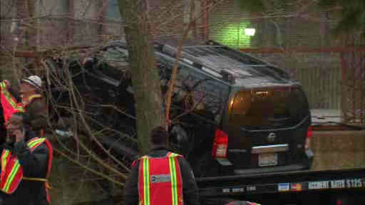 An out-of-control SUV crashed through a fence and ended up on a Q subway train in Brooklyn early Wednesday.