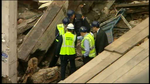 "<div class=""meta image-caption""><div class=""origin-logo origin-image ""><span></span></div><span class=""caption-text"">One construction worker died, two others suffered injuries after they were trapped in a construction site collapse in Morningside Heights Thursday morning.</span></div>"