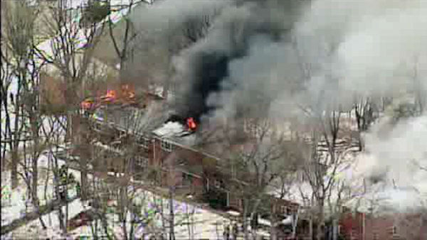 Photos from apartment building fire in Peekskill, Westchester County on Thursday, March 21, 2013. (NewsCopter 7)