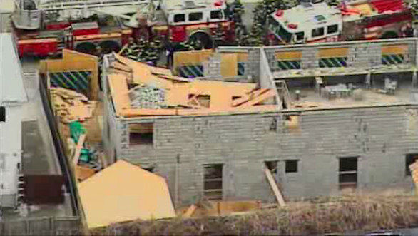 Rescue crews responded to the scene of a building collapse in Canarsie, Brooklyn on Friday, March 22, 2013.
