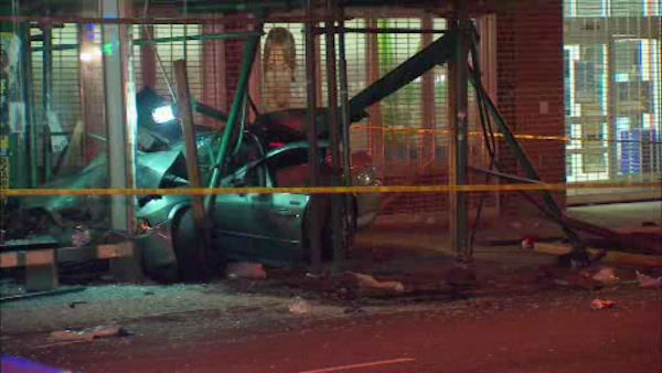 12 people were injured when a car drove onto the sidewalk Saturday night in East Flatbush, Brooklyn.