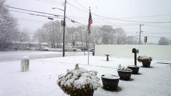 Surprise snow in West Babylon, Long Island on Monday, March 31, 2014.