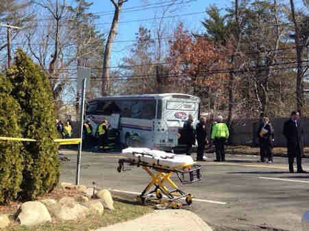 "<div class=""meta image-caption""><div class=""origin-logo origin-image ""><span></span></div><span class=""caption-text"">One person was killed and other injuries were reported when a coach bus collided with a tree in Albertson on Long Island on Tuesday, April 1, 2014.  Another vehicle was also involved.</span></div>"