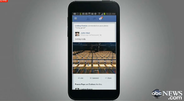 Photos from the news conference to announce Facebook'snew experience for Android phones called Facebook Home.