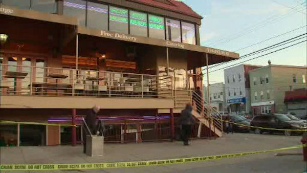 A woman lost control of her car and drove under the balcony of a Bronx restaurant Saturday night, but no one was seriously injured.