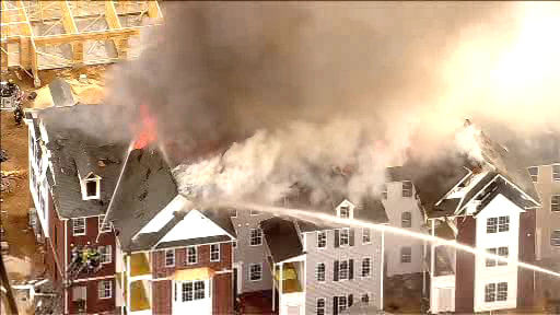 A large fire damaged an apartment complex on Ellington Avenue East in Garden City, Nassau County on Wednesday, April 11, 2012