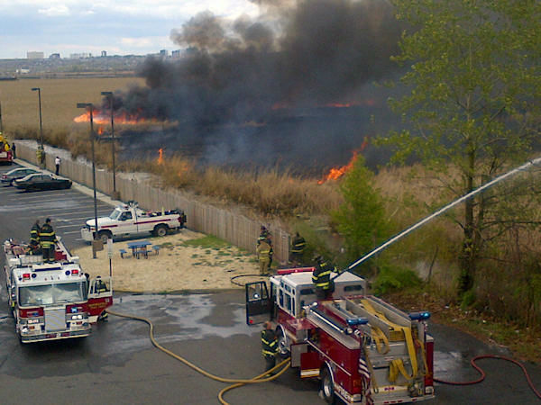 "<div class=""meta image-caption""><div class=""origin-logo origin-image ""><span></span></div><span class=""caption-text"">Aftermath of a brush fire in Carlstadt, New Jersey (Photo by N.J. Burkett)</span></div>"