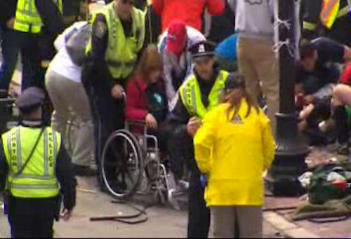 Images from the scene of explosions at the Boston Marathon.