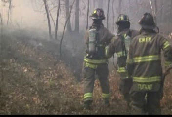Photos from a brush fire in Manorville, Suffolk County on Tuesday, April 17, 2012.