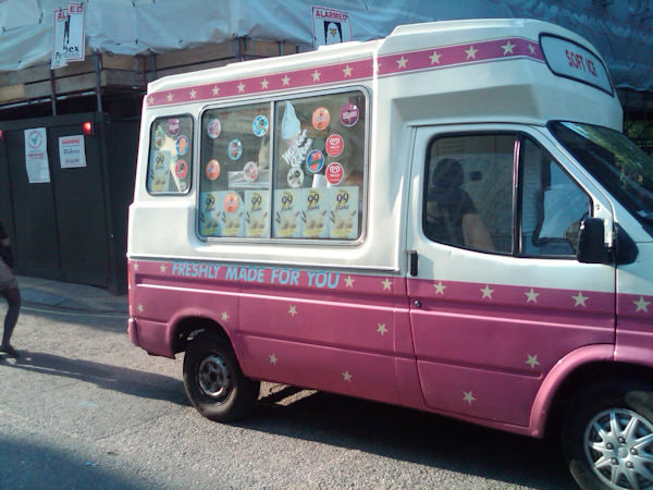 An ice cream, Mr. Softee type of truck, London-style!  (Photo by Tara Zimmerman/Eyewitness News)
