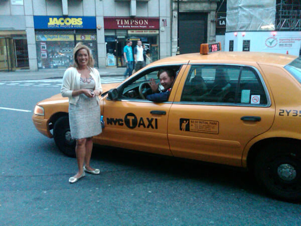 Would you believe we spotted this NYC cab on the streets of London?       It turns out it's a prop for a movie and a guy was driving it down  the street, but we stopped him for a picture with Kemberly. (Photo by Tara Zimmerman/Eyewitness News)