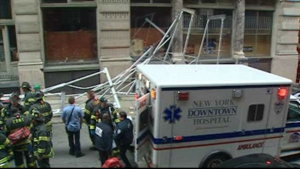 The scene of a scaffolding collapse on Franklin Street in Lower Manhattan on Thursday, April 26, 2012 in which two construction workers suffered injuries.