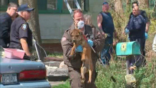 Authorities removed scores of animals discovered inside a condemned house in Central Islip on Long Island.